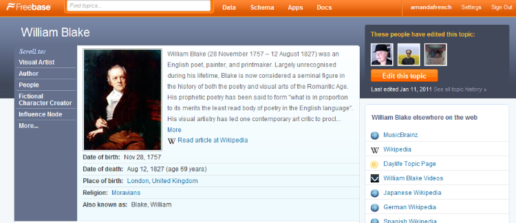 the William Blake Freebase page